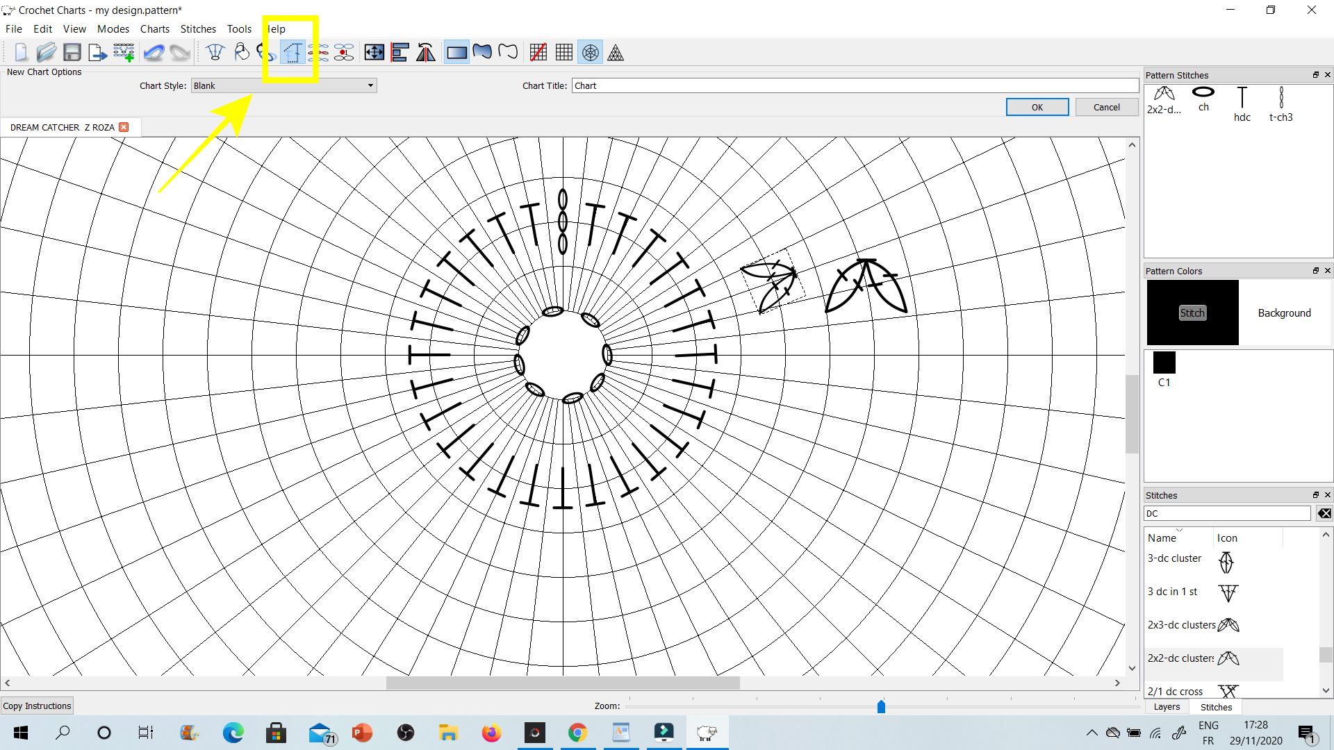 CROCHET CHARTS - program graficzny, w którym w prosty sposób przygotowuję rozpiski szydełkowych wzorów.