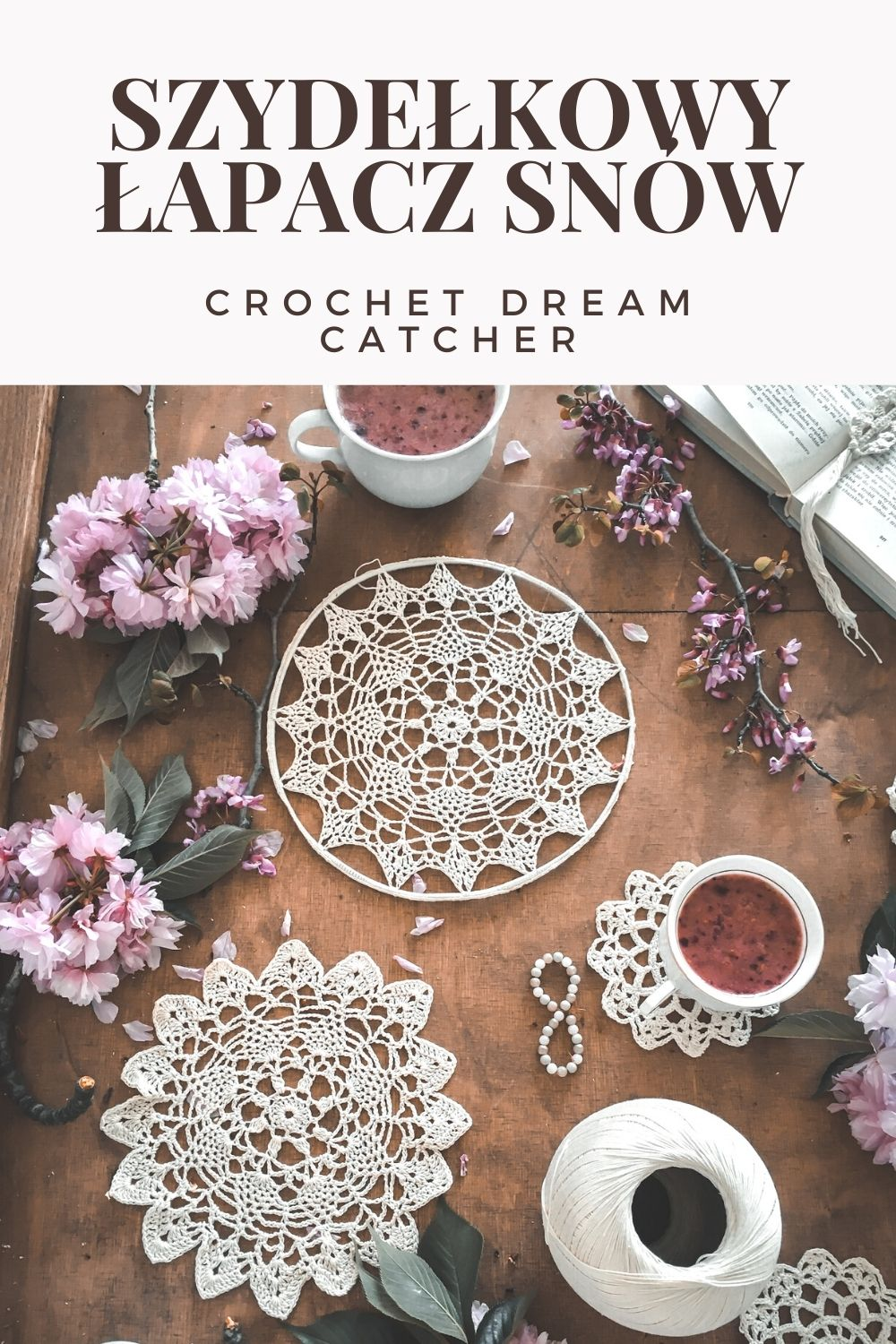 SZYDELKOWY LAPACZ SNOW CROCHET DREAM CATCHER Z SERWETKI